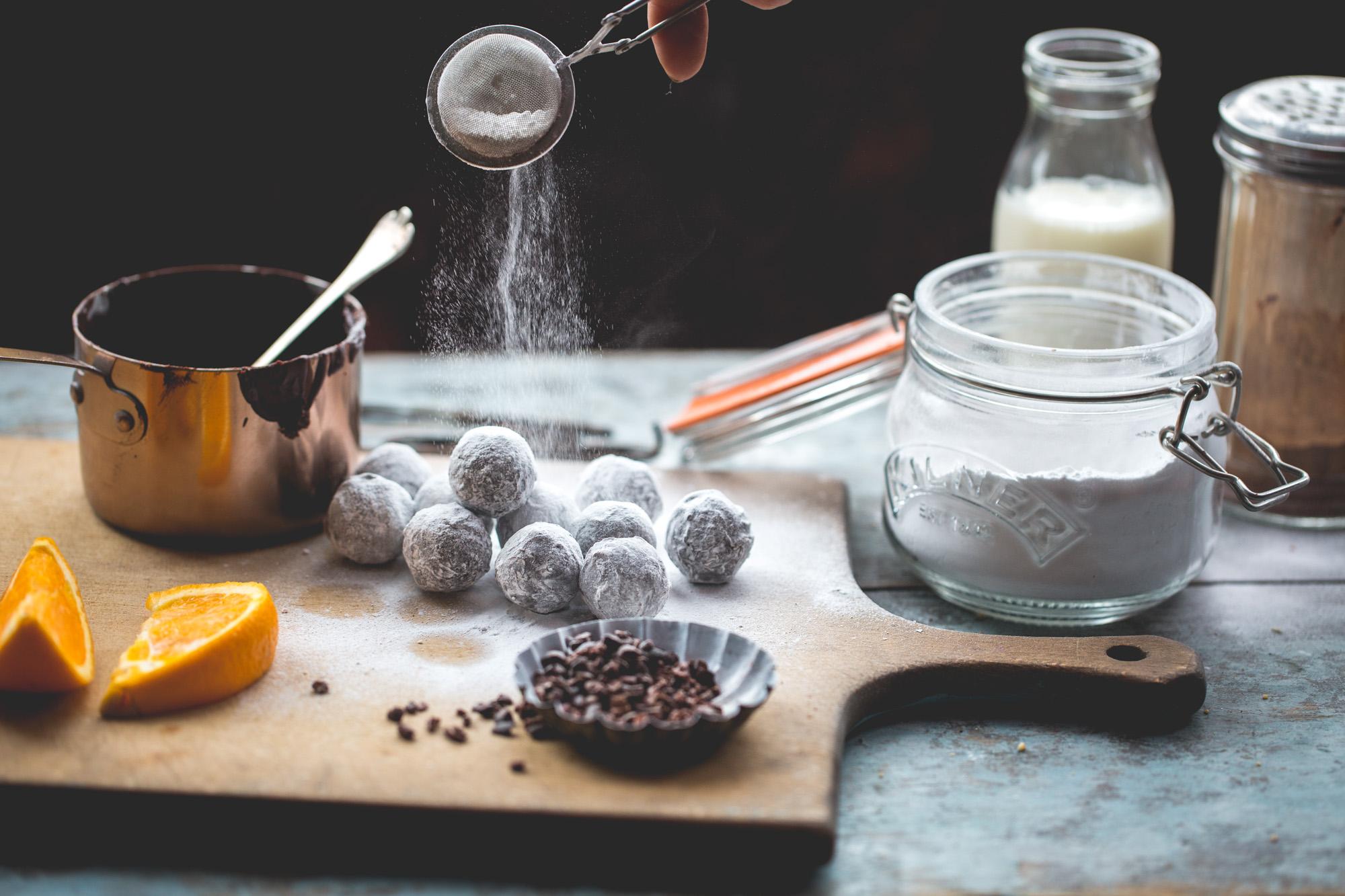 Home made dark chococlate and orange truffles
