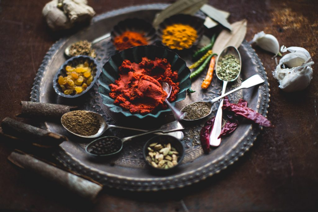 All the ingredients that go in to making a curry paste